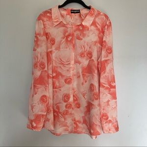 Karl lagerfeld blouse size xl floral top women's